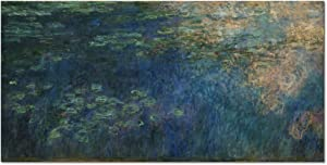 Wieco Art Reflections of Clouds on the Water Lily Pond Giclee Canvas Prints Wall Art of Claude Monet Oil Paintings Large Modern Artwork Pictures Ready to Hang for Bedroom Home Office Decorations L