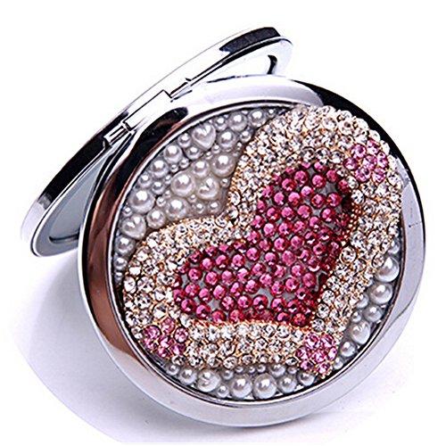 Evtech (TM) 3d Bling vidrio Rhinestones Crystal plegable plegable de bolsillo compacto maquillaje espejo de viaje (100% hecho...