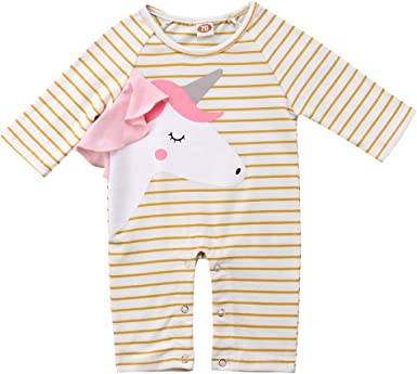Kids Baby Girls Unicorn Print Jumpsuit Long Sleeve Romper Bodysuit Outfits Cloth
