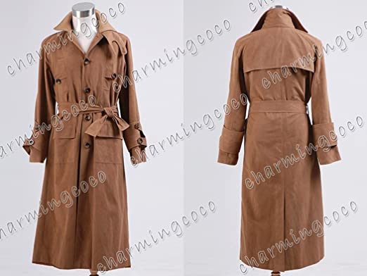 8baa6a550 Amazon.com: Blade Runner Cosplay Costume Rick Deckard Brown Trench ...