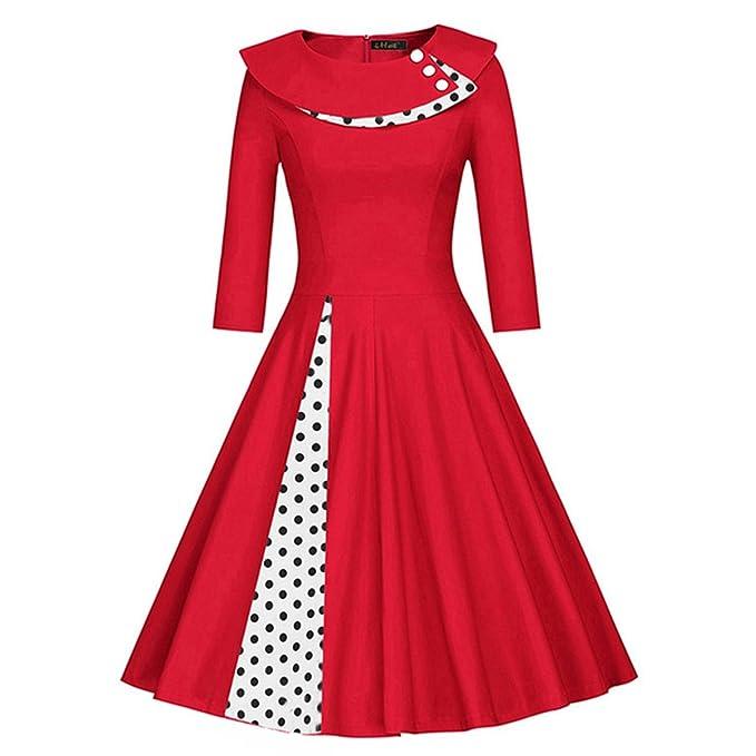 2018 Primavera Vestidos de mujer Dot 50s Vestidos Vintage Rojo Patchwork Robe Partido Femenino Vestido Retro