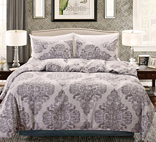 - Nuvole Duvet Cover Set,Luxury Down Comforter Quite Cover-Zipper & Tie-Printed Damask Pattern-1 Duvet Cover and 2 Pillow Shams, Grey(King)