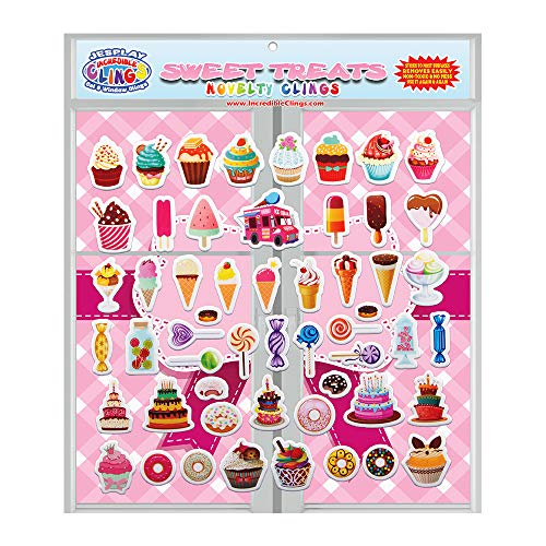 JesPlay Sweet Treats (by Incredible Gel and Window Clings) Reusable Puffy Stickers - Candy, Ice Cream, Donuts, Birthday Cake and More Window Clings for Kids and Adults ()
