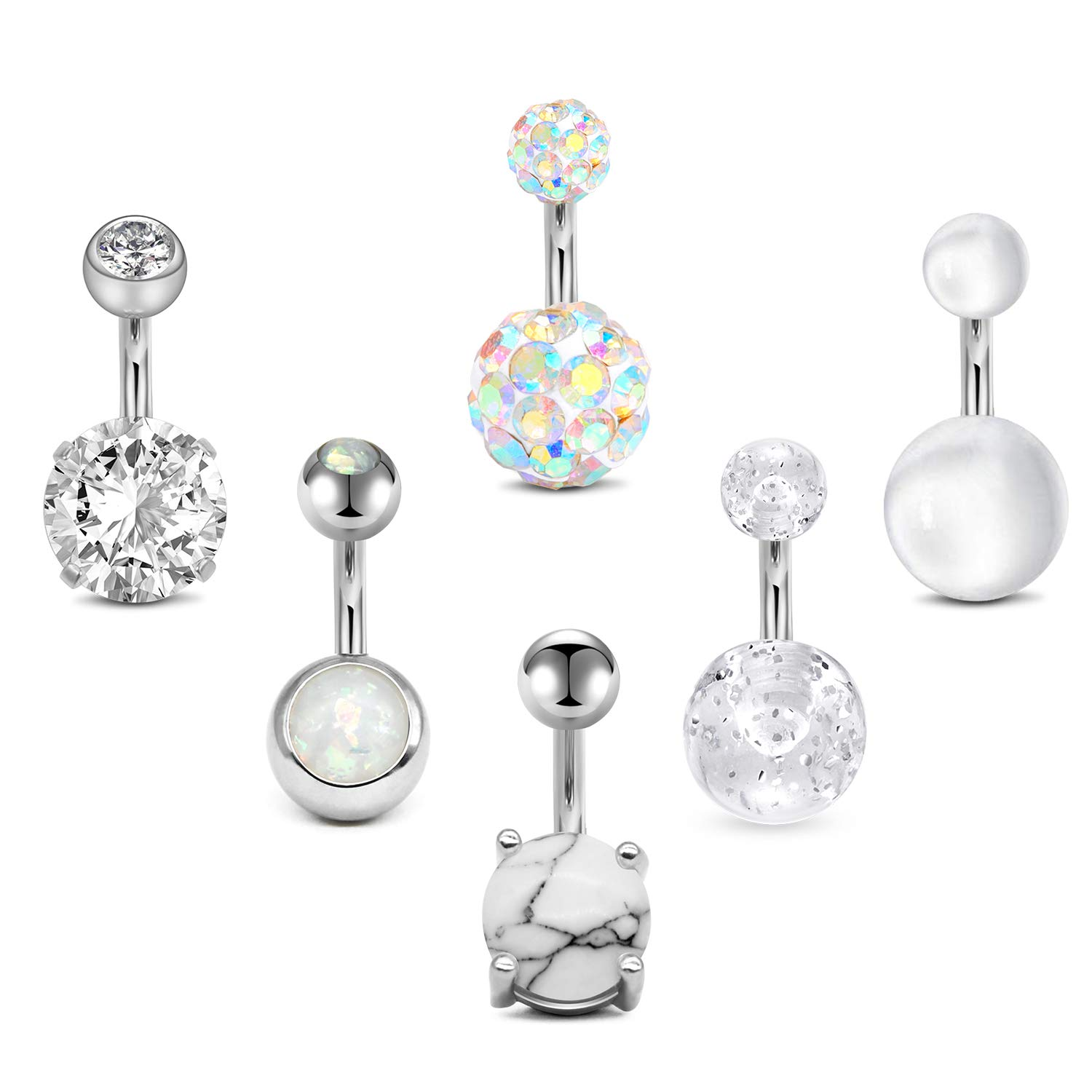 6PCS//Set 14G Stainless Steel Crystal Opal Belly Button Rings Barbell Piercing ML