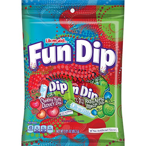 - LIK-M-AID Fun Dip Cherry Yum Diddly and Razz Aapple Magic Pouch, 3.01 Ounce (Pack of 12)