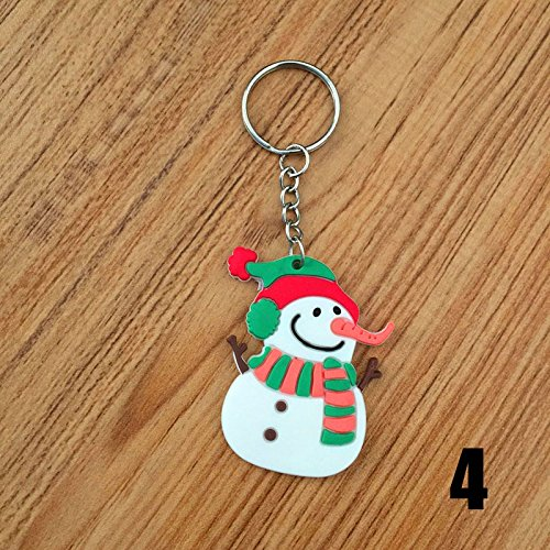 Qjoy 10 Pcs Keychain PVC Keyring Santa Claus Christmas Tree Snowman Sledge Boys Girls Key Chain For Bag Gifts