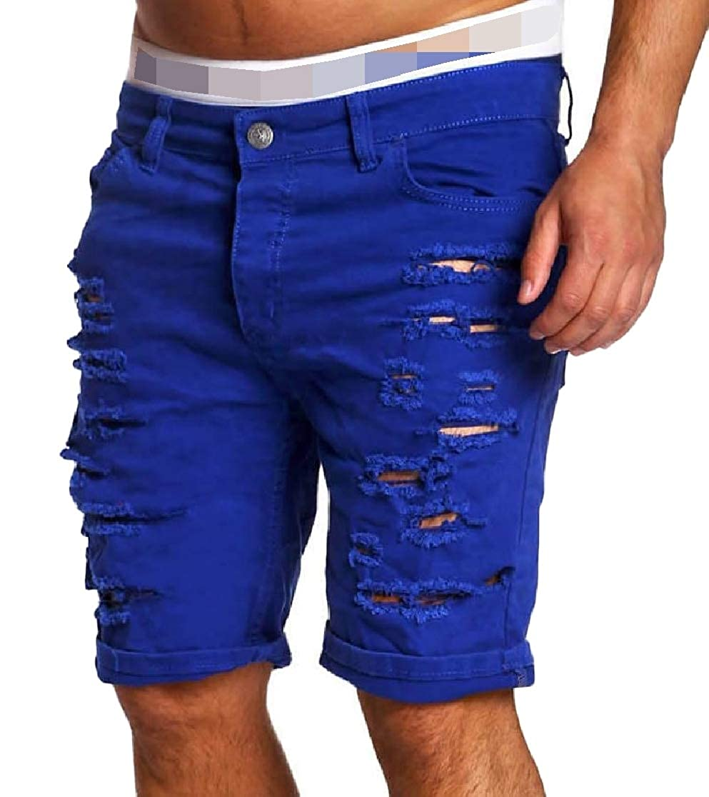 Joe Wenko Mens Vogue Ripped Hole Jeans Mid Rise Denim Shorts Pants