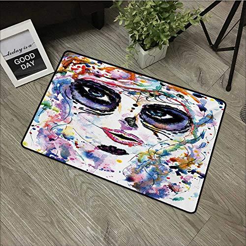 Anzhutwelve Sugar Skull,Anti-Slip Doormat Halloween Girl with Sugar Skull Makeup Watercolor Painting Style Creepy Look W 20