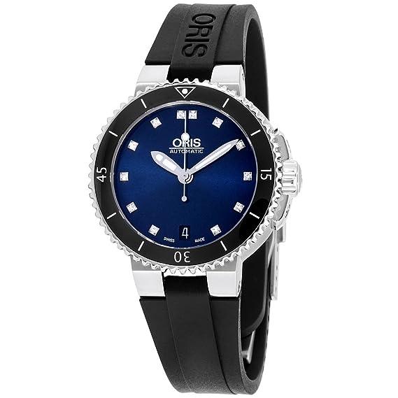 Oris para mujer esfera azul reloj de pulsera de silicona, 73376524195rsblkxg (Certificado Reformado)