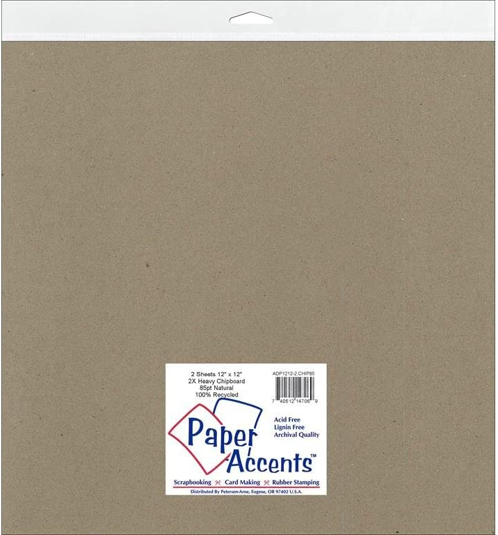 Accent Design Paper Accents Chipboard 12x12 ExtraHeavy NAT Chpbrd1212ExtraHeavy