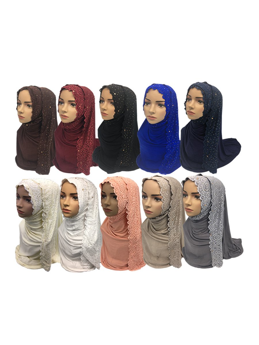 12 Pieces/Pack 10 Mix Colors Imitated Rhinestones Decorated Muslim Cotton Long Hijabs Scarves 75x170cm Weight: 0.23Kg/piece (Long B)