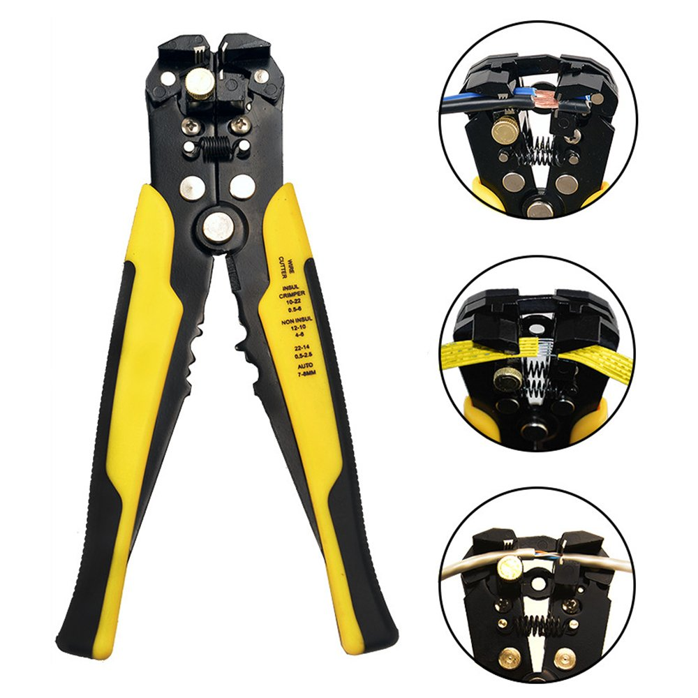 Wire Stripping Tool, Cutter Crimper Electrician Pliers, Automatic Stripper Electrical Crimping Tools, Vise Grip Multitool for Electricians, Precision Insulated Pela Cable Crimpers with Cutting Touch