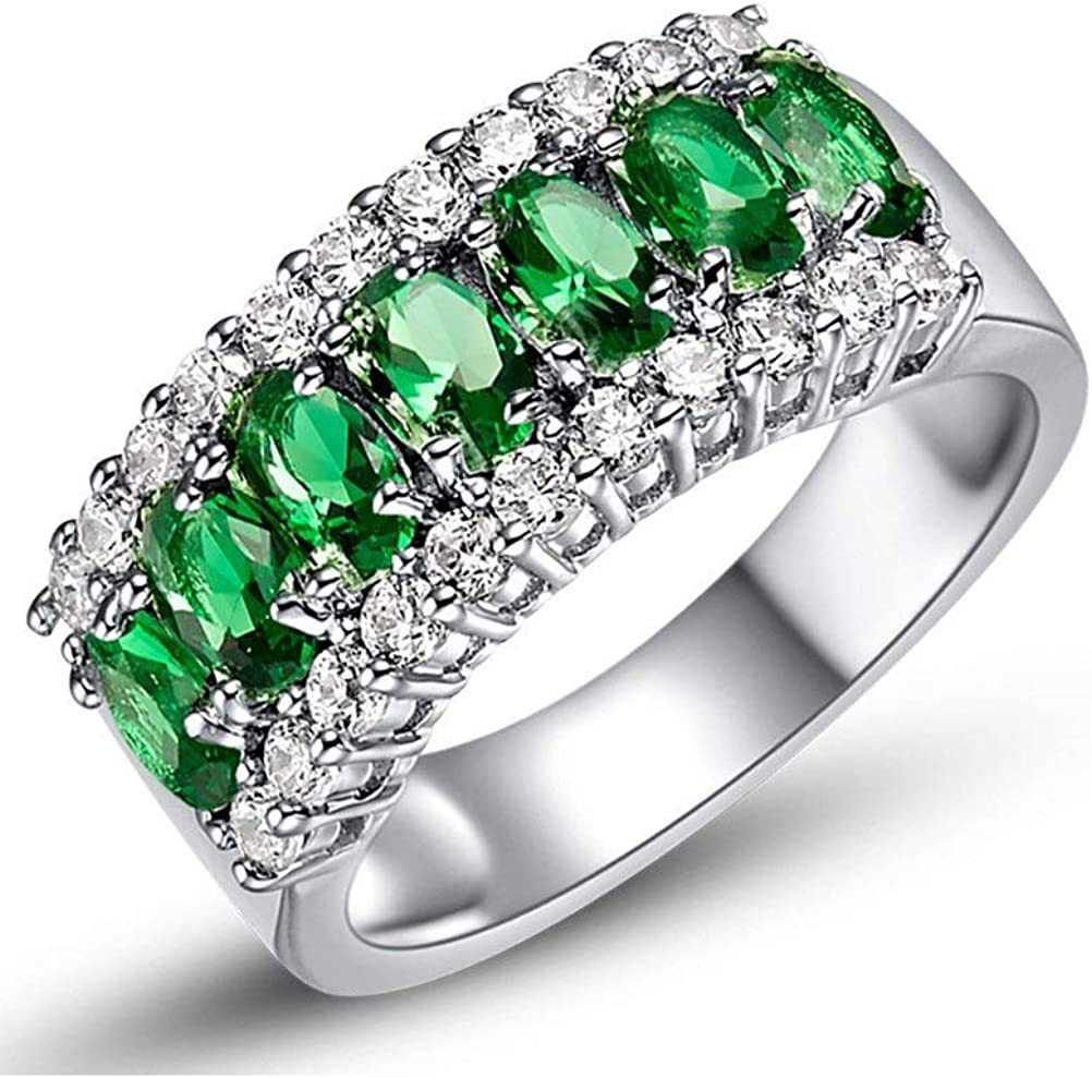 Uloveido 7 Stone Green Cubic Zirconia Half-Moon/Meniscus Rings Engagement, Best Gifts for Women Girl-Friend Size 6 7 8 9 J501