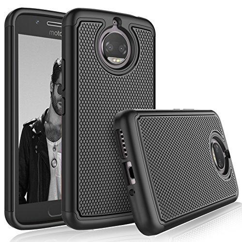 Moto G5S Plus Case, Motorola G5S Plus Sturdy Case, Tekcoo [Tmajor] Shock Absorbing [Black] Hybrid Combo Rubber Silicone & Plastic Scratch Resistant Bumper Rugged Grip Hard Protective Cases Cover