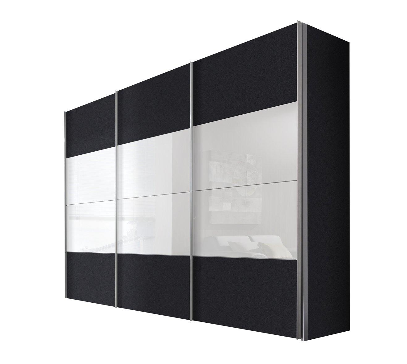 Solutions 49620-971 Schwebetürenschrank 3-türig, Korpus und Front graphit, weißglas, Griffleisten alufarben, 68 x 300 x 216 cm