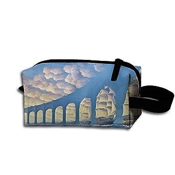 141a52cc3698 Amazon.com  Makeup Cosmetic Bag Clouds Sailboat Bridge Optical Illusion  Medicine Bag Zip Travel Portable Storage Pouch For Mens Womens  Clothing