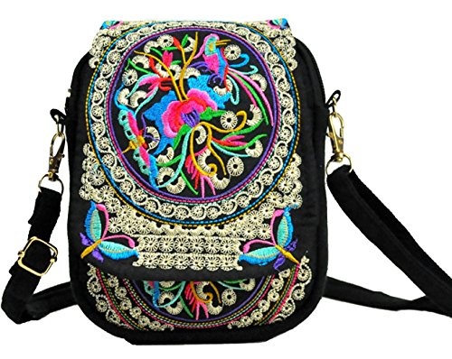 LeaLac Women Ethnic Embroidered Shoulder Messenger Bag Handmade Crossbody Bag Boho Bags Canvas Handbag Phone Coin Purse Black