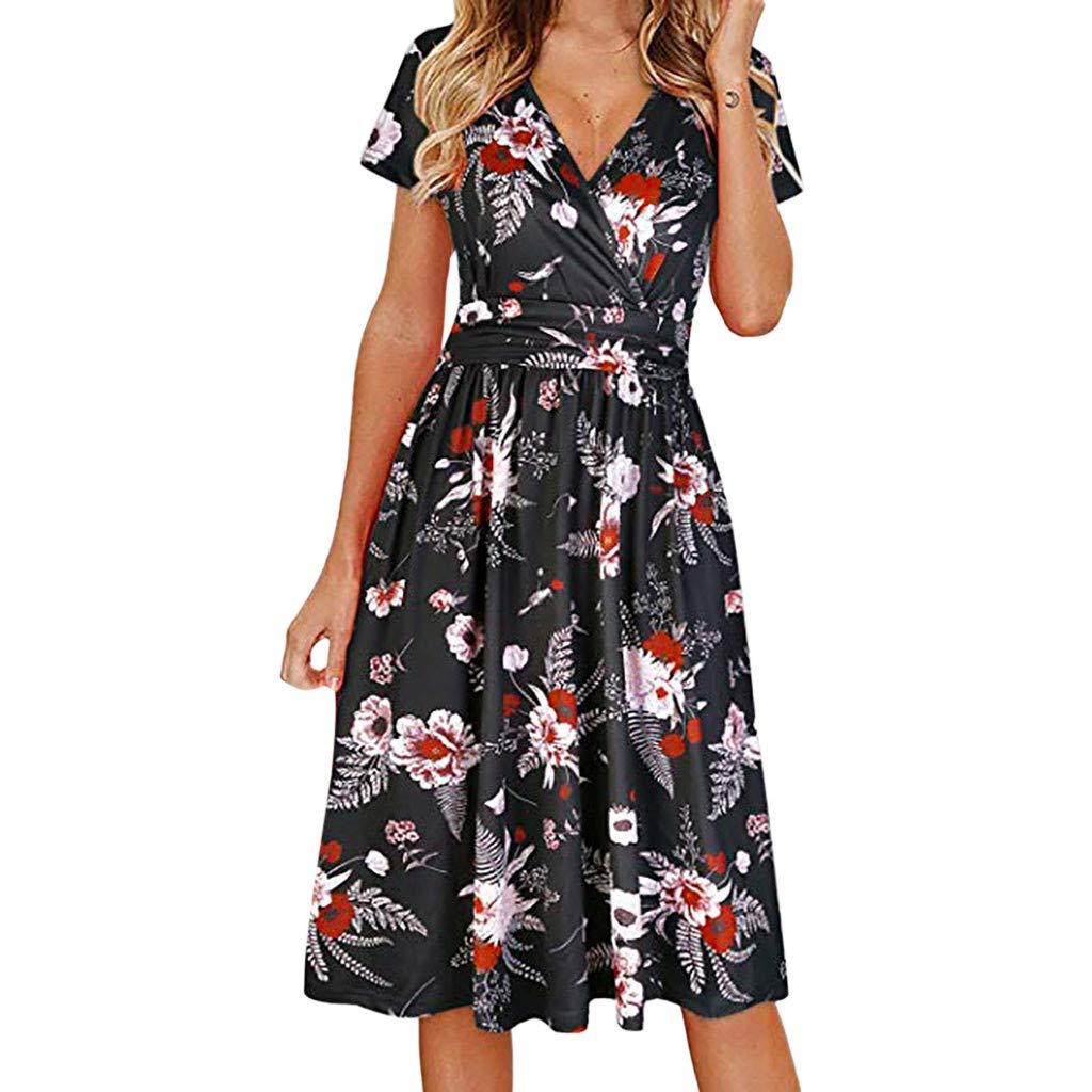 Y56(TM) Women Fashion Causal Short Sleeve Floral Print V-Neck Mini Dress Summer Beach Dress Party Prom Dresses