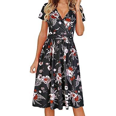 Sharemen Womens Plus Size Cold Shoulder Floral Slit Hem Tropical Summer Maxi Dress(Black,
