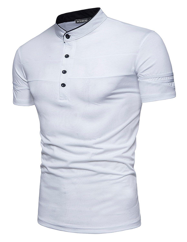 YCUEUST Moda Polos Manga Corta Hombre Simple Casual Henley Shirt ...