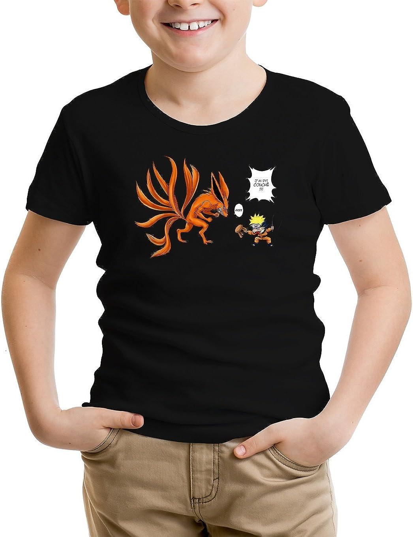 T-Shirt Enfant Noir Naruto parodique Naruto et Kyubi Le Biju /à 9 Queues Couch/é ! Parodie Naruto