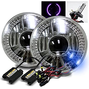 "10000K Deep Blue H4-2 Low Beam Xenon/High Beam Halogen Slim HID/7"" Round 6014/6015/6024 Chrome Projector Headlights with Purple LED Ring"