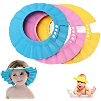 Baby Shower Cap, Baross Adjustable Waterproof Bath Cap Visor Hat Shower Bathing Protection Soft Cap for Children Baby Kids Set of 3(Pink, Blue, Yellow)