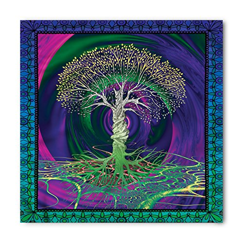 (Ambesonne Nature Bandana, Digital Psychedelic Art, Unisex Head and Neck Tie)