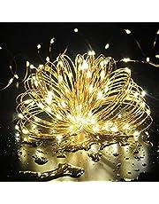 Cadena de Luces, Guirnalda de Luces 10M 100 LED Impermeable Alambre de Cobre de 8 Modos de Luz, con Control Remoto para Lluminación DIY, Navidad, Decoración Fiesta, Jardín, Boda etc (Amarillo cálido)
