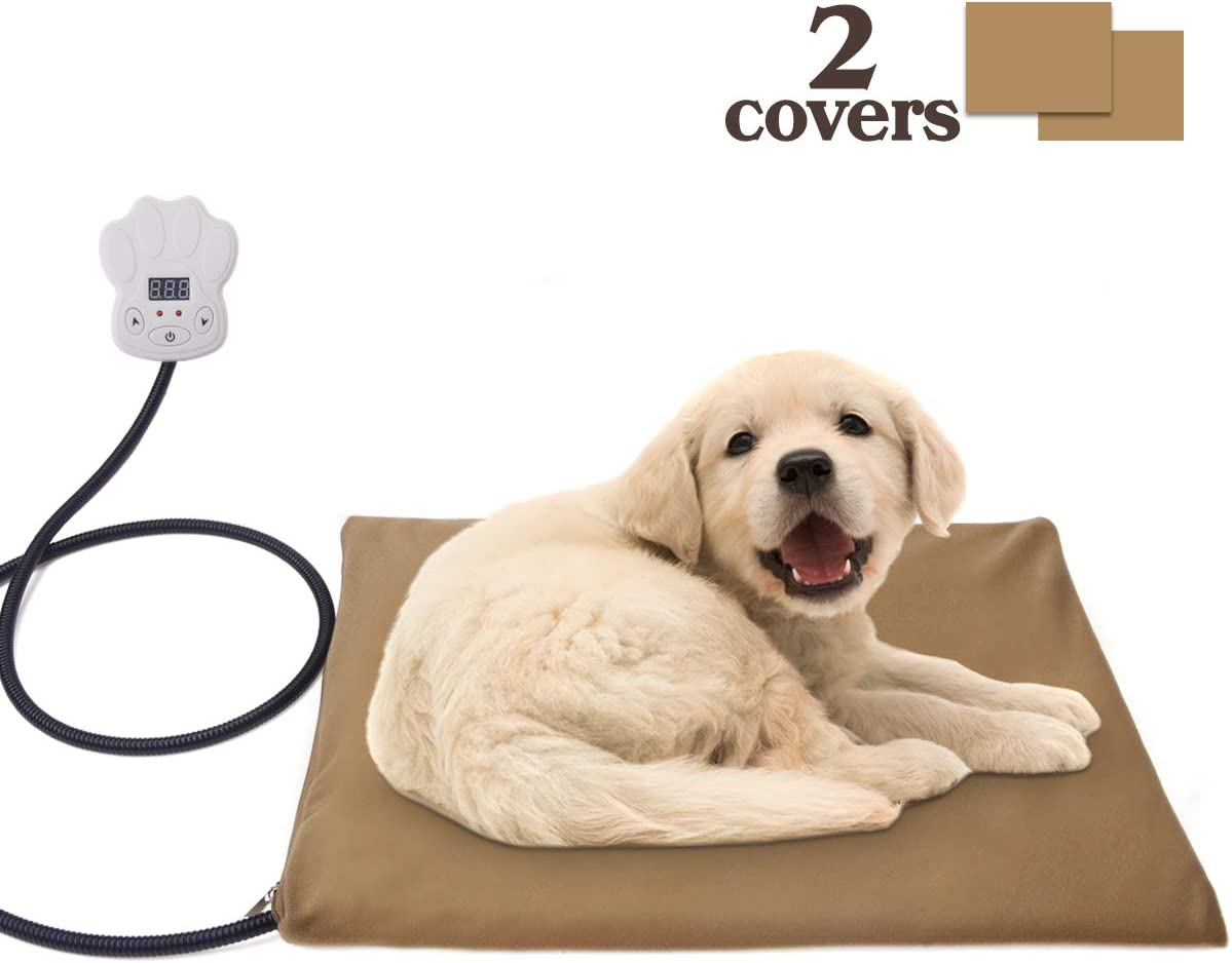 BACKTURE Pet Heating Pad, Dog Cat Electric Waterproof Heating Pad Indoor Adjustable Warming Mat with Chew Resistant Steel Cord,Overheat Protection,Soft Removable Cover