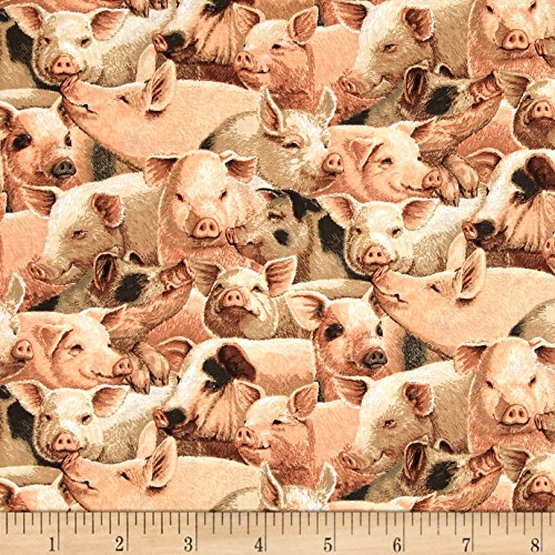 On the Farm Niche Cotton Packed Pigs Fabric By The Yard