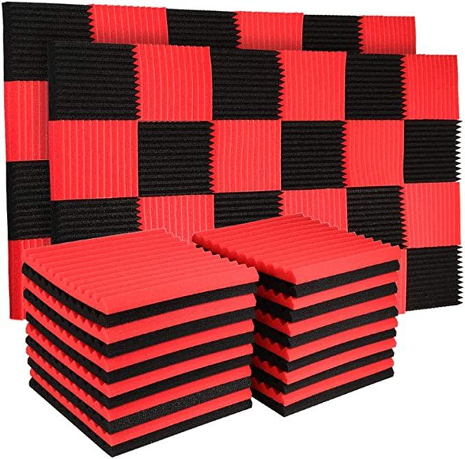 Amazon Com 50 Pack Acoustic Panels Soundproof Studio Foam For Walls Sound Absorbing Panels Sound Insulation Panels Wedge For Home Studio Ceiling 1 X 12 X 12 Black 50pcs Black Red Musical Instruments
