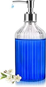 Soap Dispenser,18Oz Clear Glass Soap Dispenser with Nozzle Clamp and Rust Proof Pump, Refillable Wash Hand Liquid, Dish Detergent, Essential Oils, Ideal for Bathroom Countertop, Kitchen, Office