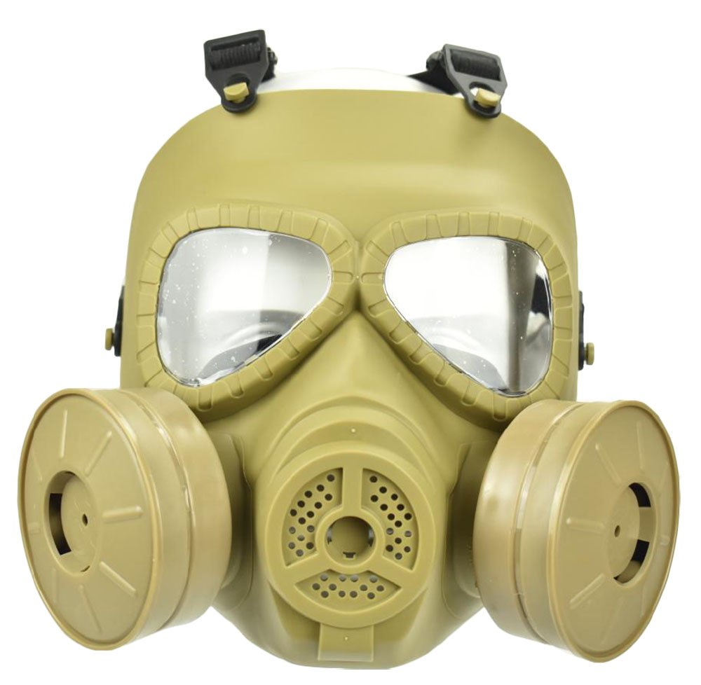 Jadedragon Tactical Paintball Dummy Gas mask Full Face Eye Protection skull Skeleton Mask With double exhaust fan for Cosplay Protection Zombie Soldiers Halloween (khaki) by Jadedragon