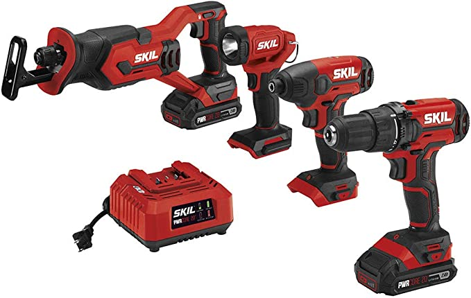 Skil 4 Tool Combo Kit 20v Cordless Drill Driver Impact Driver Reciprocating Saw And Led Spotlight Includes Two 2 0ah Lithium Batteries And One Charger Cb739601 Amazon Com
