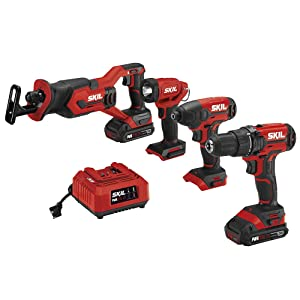 SKIL 4-Tool Kit: 20V Cordless Drill Driver, Impact Driver, Reciprocating Saw and LED Spotlight, Includes Two 2.0Ah Lithium Batteries and One Charger - CB739601