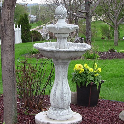 Sunnydaze 2-Tier Arcade Outdoor Solar Power Water Fountain with LED Light, White Finish, 45 Inch (2 Led Finish)