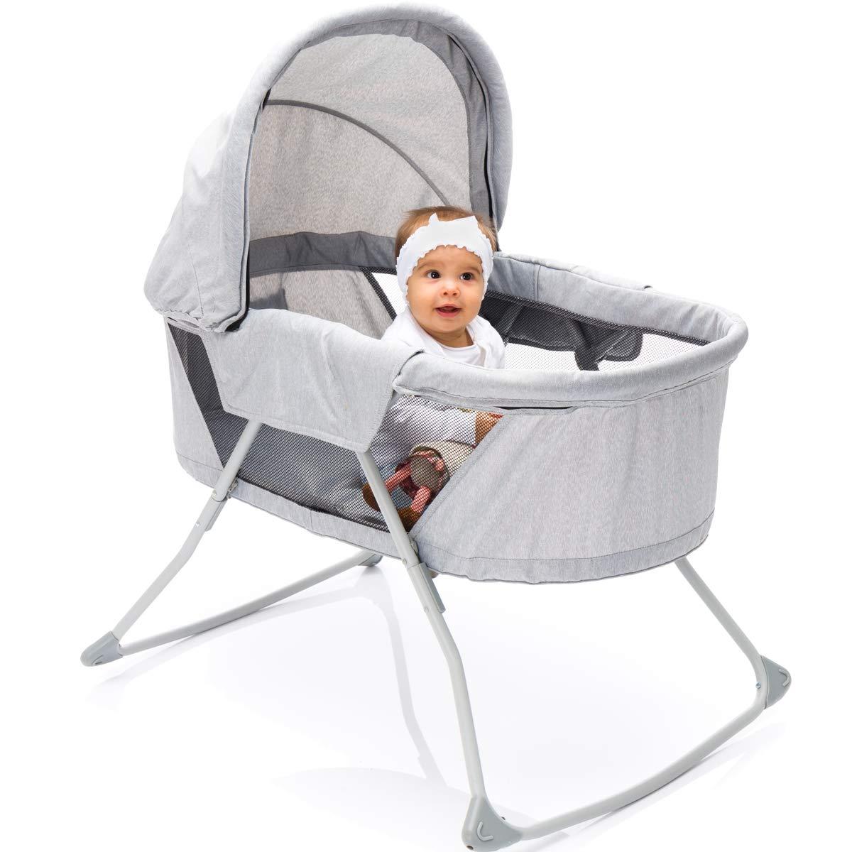 PREMIUM Babywiege Babybett mit Moskitohaube, Transporttasche und gepolsterter Matratze