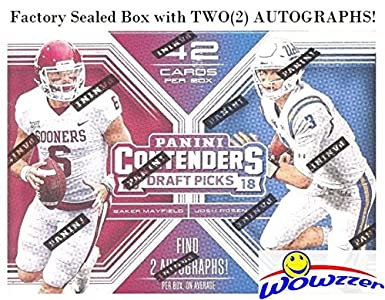 2ad378c22d3 2018 Panini Contenders Draft Pick NFL Football EXCLUSIVE Factory Sealed  Retail Box with TWO(2