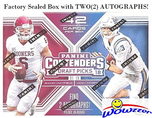 - 2018 Panini Contenders Draft Pick NFL Football EXCLUSIVE Factory Sealed Retail Box with TWO(2) AUTOGRAPHS! Look for Rookies & Autographs of Baker Mayfield, Saquon Barkley, Sam Donald & More! WOWZZER!
