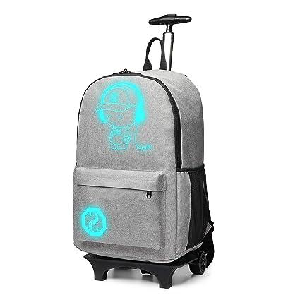 0b2e821e58 Kono Sac à Dos pour Ordinateur Portable Lumineux Fonctionnel roulettes  Voyage (Gris)