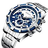 Watches,Men Fashion Casual Luxury Brand Chronograph Blue Watches Stainless Steel Waterproof Quartz Men's Watch