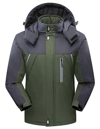 Guoji Mens Fleece Ski Coat Waterproof Windproof Winter Snow Jacket  (JD92Armygreen Small) b7c63c900