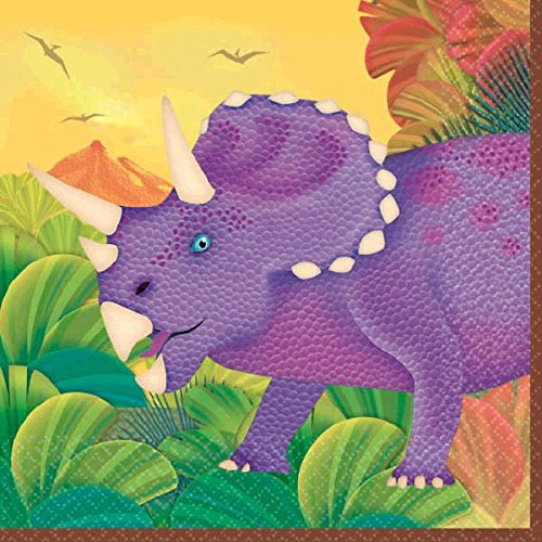 amscan Prehistoric Dinosaurs Beverage Napkins, Party Favor