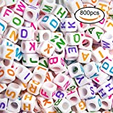 Jinway 800pcs Letter Beads White Beads With Colorful Letter Acrylic Alphabet Beads for Jewelry Making,DIY Bracelets, Necklaces, Key Chains and Children's Educational Toys