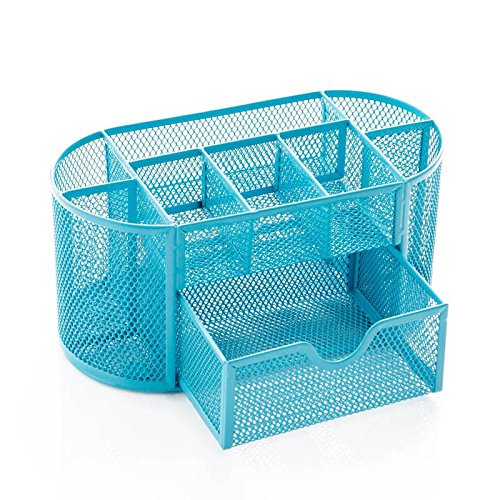 Iusun All-in-one Space Storage Basket Mesh Crate Cosmetics Storage Desktop Container Supplies Organizer Pencil Cup Creative Desk Decoration School Supplies Office Home-Ship from USA (Blue) ()