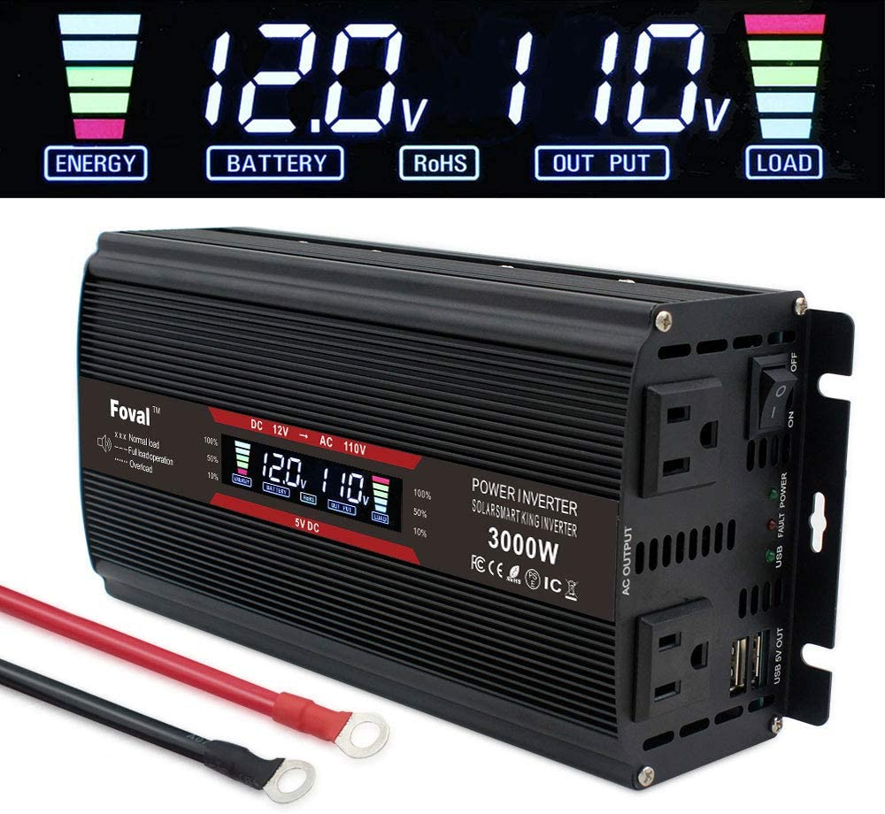 LVYUAN Power Inverter 1500W/3000W Dual AC Outlets and Dual USB Charging Ports DC to AC Inverter 12V to 110V Car Converter DC 12V Inverter with Digital LCD Display