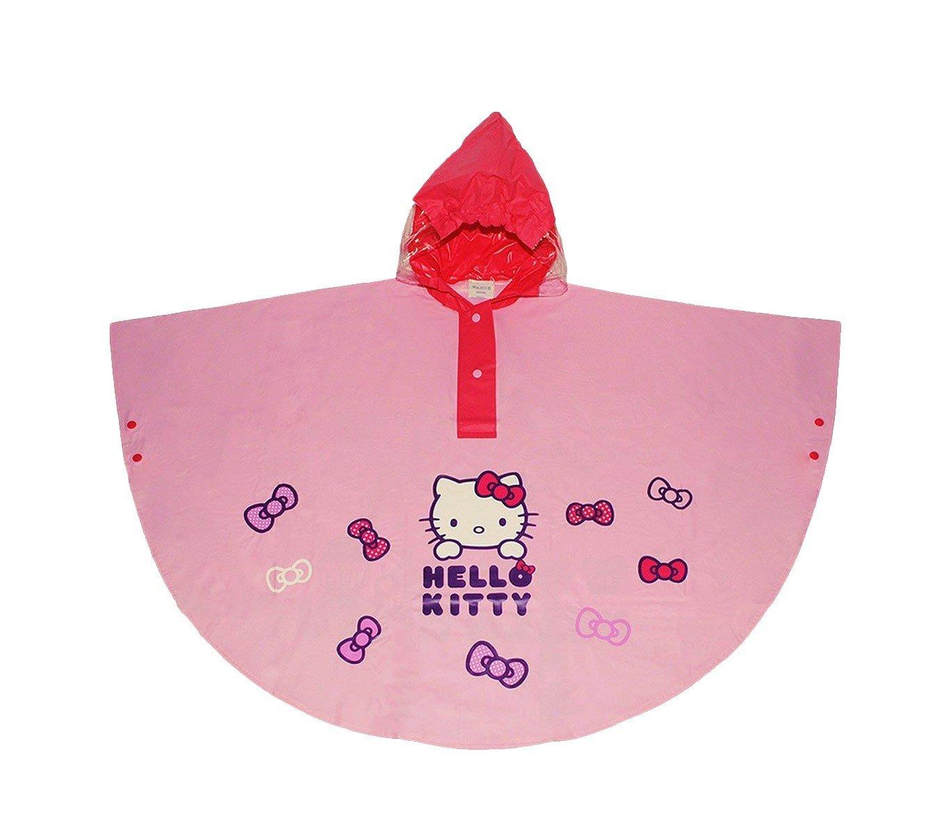 MEDIA WAVE store HK811 Poncho Impermeabile per Bambine di Hello Kitty con Cappuccio da 2 a 6 Anni (Rosa, 6 Anni)
