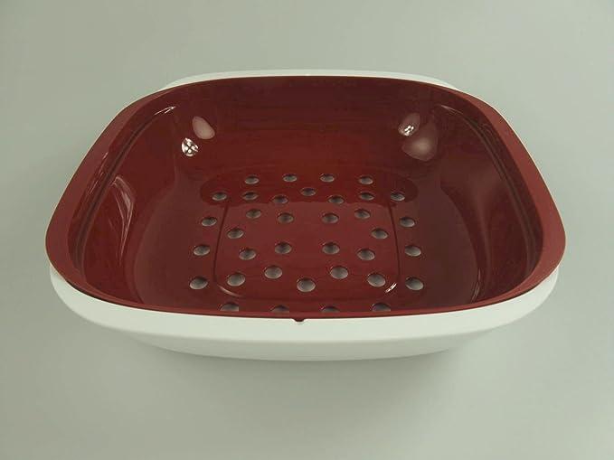 Tupperware DOPPELPACK 2 Allegra Sieb Siebservierer 1,3 l Rot-Weiss