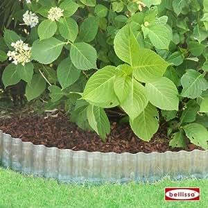 Bellissa–Bordes onda galvanizado 500x 20cm para Bancal Césped limitación Cercado de jardín Mundo cerrojo Berger
